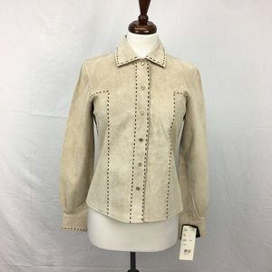 Bernardo Tan Suede Stitched Jacket